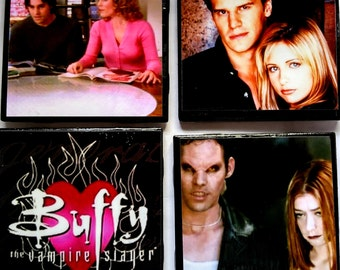 BUFFY the Vampire Slayer Coasters/Buffy Ceramic Coasters/Geek Coaster/Buffy Vampire Barware set/Decoupaged Bar Cart Accessories/Best Selling