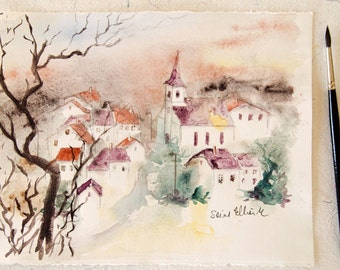 Small french village watercolor with the morning mist and a tree, French village watercolour,Original painting, watercolour from France