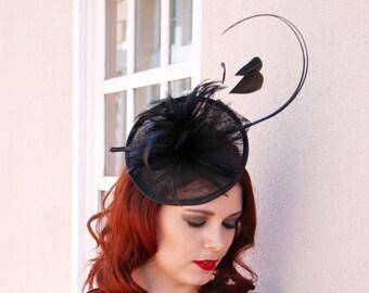 Black Fascinator with Ostrich Spines Womens Tea Party Hat, Church Hat, Derby Hat, Fancy Hat, Navy Blue Hat, Tea Party Hat,wedding hat