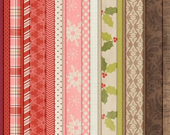 December Joys : Baby, It's Cold Outside - Christmas Digital Papers - 12 x 12 - Scrapbooking Pack - Perfect for the Holidays!