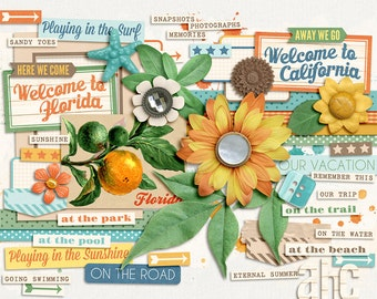 Coast to Coast - Digital Elements - Scrapbooking Pack - Perfect for road trip, travel or vacation photos from Florida to California!