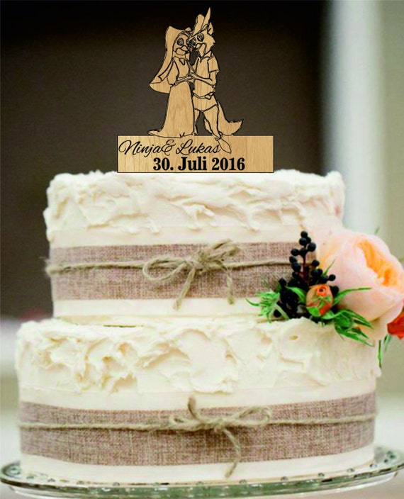 Robin Hood And Maid Marian Cake Topper With A Silhouette