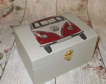 Red Campervan Jewellery Box, Shabby Chic,Grey Jewellery Trinket Box Campervan decoupage, Gift for her, Storage box