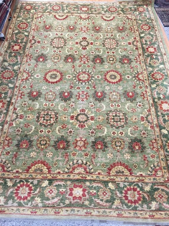"9'7"" x 13'5"" Pakistani Peshawar Agra Design Oriental Rug - Hand Made - Vegetable Dye - 100% Wool"