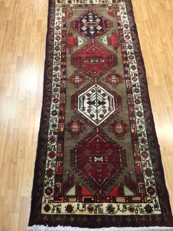 "3'6"" x 8'8"" Persian Sarab Floor Runner Oriental Rug - Hand Made - 100% Wool Full Pile"