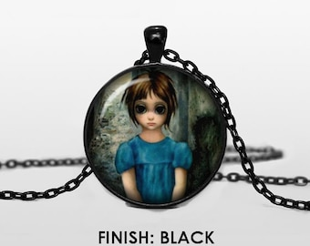 BIG EYES by Margaret KEANE Necklace, keane Jewelry, art gift for women handmade, silver bronze black, art Pendant chain jewelley 025