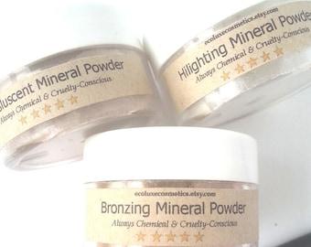 Mineral Makeup- finishing powder, natural cosmetics, organic cosmetics, vegan cosmetics, highlighter makeup, face hilighter,  cruelty free