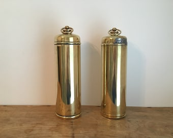 French Vintage Brass Hot Water Bottle / Bed Warmer (2 Available)