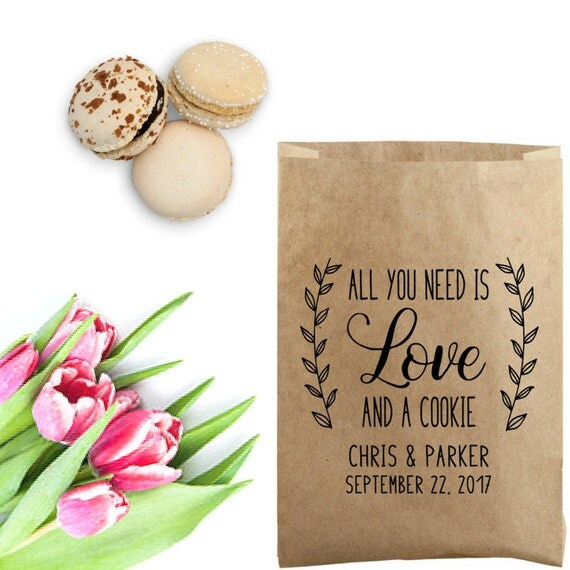 All you need is love and a cookie wedding cookie bag for Cookie bags for wedding