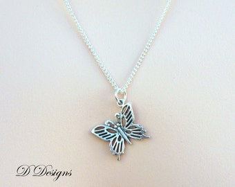 Silver Butterfly Necklace, Silver Butterfly Pendent, Silver Charm Necklace, Silver Necklace, Gifts for her