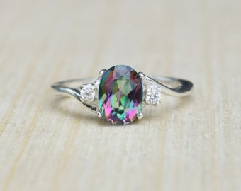 Mystic Topaz Ring, Rainbow Topaz Ring, Mystic Rainbow Ring, Multicolored Ring, Sterling Silver Ring