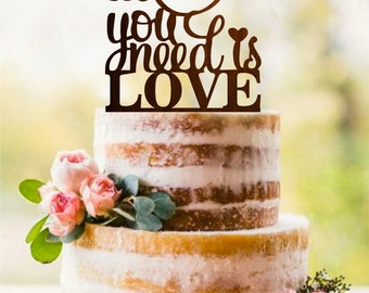 All You Need Is Love Rustic Cake Topper Wood Cake Topper Custom Cake Topper Woodland Wedding Personalized Cake