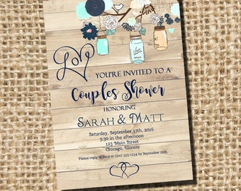 Couples Shower Invitation, Bridal Shower Invitation, Couples Shower, Rustic Shower Invitation, Mason Jars Invitation, Digital Printable