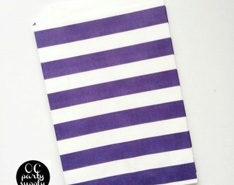 Purple Rugby Stripe treat Bag, Candy Bag, Party Favors, Party Supplies, Purple Bag