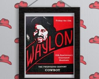 Waylon Jennings Broadside - Print. Hand Printed. Wall Decor. Death Anniversary. Letterpress. Friday the 13th. Cowboy.