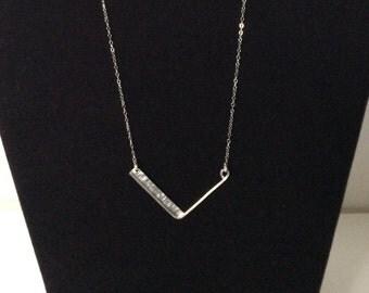 """Sterling Silver """"V"""" Bar Necklace"""