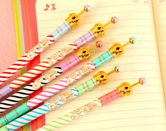 Golden Crown Stripe Pens with Pearl / Cute Kawaii Pens / Cute Gel Pens / Cute Pens / School Supplies / Kawaii Pens / Kawaii Gel Ink Pens