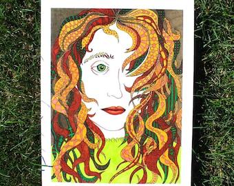 Colorful Pattern Hair Illustration, original art print