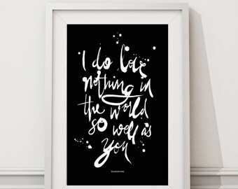 A4 // Digital Download // Brush Script // Black and White // Nursery Art // 'I do love nothing in the world so well as you // Van Gogh