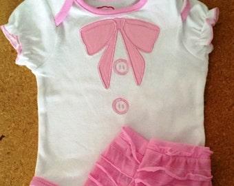 Baby Gift, Pink/White Ruffled Onesie with Leg Warmers, Shower Gift, Onesie Cupcakes