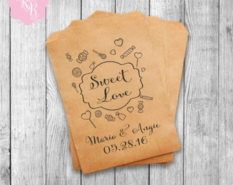 Wedding Favor Bags Wedding Favors Personalized Cookie Buffet Bags Candy Bar Bags Wedding Gift Idea Custom Wedding Favors Set of 20 Style 009