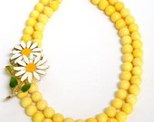 Yellow Necklace, Re-purposed Jewelry, Double Strand, Short Necklace, Flower Necklace, Coral Necklace, Handcrafted Jewelry, Vintage Jewelry