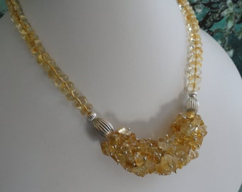 Citrine beaded necklace  -   #454