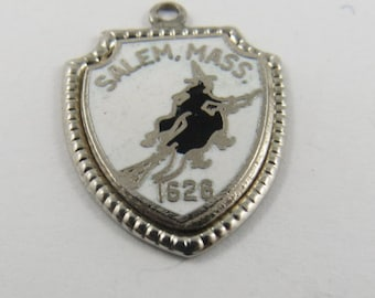 Enameled Salem Massachusetts 1626 Silver Charm of Pendant.