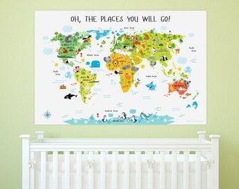 Map for kids poster geography for kids creative baby shower baby girl nursery wall art world map unique baby gifts world map sciox Choice Image