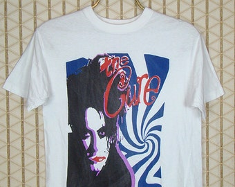 The Cure vintage & rare T-shirt, white tee shirt, Robert Smith, The Glove, Siouxsie and the Banshees