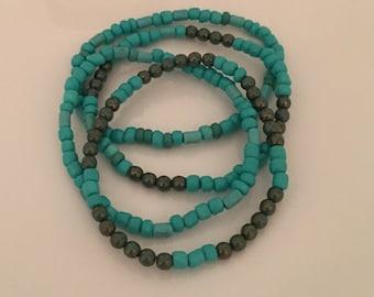 Boho beaded bracelet set blue/green