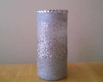 Silver Textured Glittered Flower Vase with Rhinestone Accents
