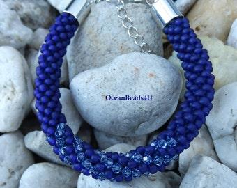 Beaded Crochet Bracelet/ Beaded Bracelet / Blue Bracelet with Blue Swarovskis