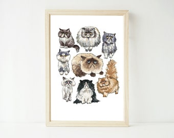 Disappointed Cats // Cat print // A4 art print // cat painting // watercolor // cat illustration