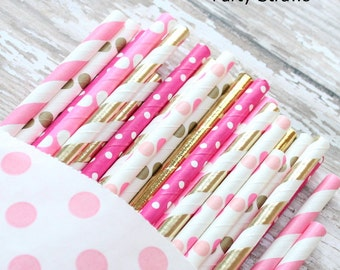 Hot pink and gold foil paper straws-set of 25- Vintage pink and gold, baby shower straws, vintage weddings, bridal showers, pink and gold