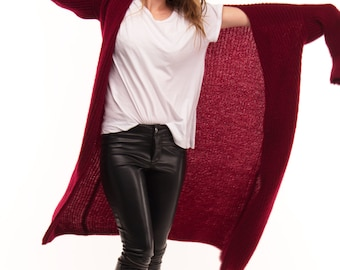 Women's Red Knit Long Cardigan. Spring/fall. 50/50 wool/acrylic.