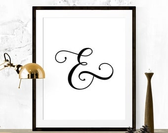 Ampersand Print, Ampersand Art, Black and White Art, Typography Art Print, Typography Poster, Black and White Ampersand Sign, Modern Decor