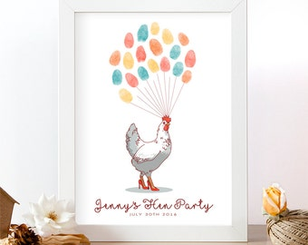 Hen party thumbprint. Thumbprint guest book. Hen do party print. Personalised guestbook. Wedding accesories. Hen party. Batchelorette.