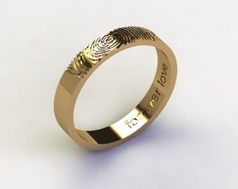 Personalized Fingerprint Ring, 14k gold ring,  Gold Memorial Jewelry, Wedding ring unique ring