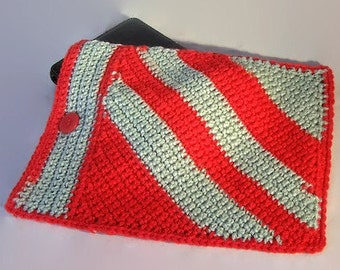 """IPad Electronic Case Crocheted in Your Choice of Team/School Colors or Other Color Favorites - 7""""W x 9 1/2""""L - MADE TO ORDER - Free Shipping"""