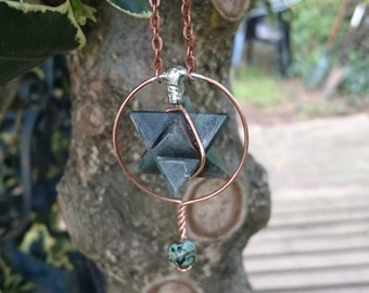 Labradorite merkaba pendulum with turquoise and copper