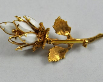 Reduced! White milk glass stone and gold flower pin