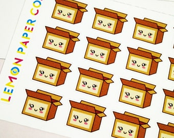 24 Kawaii Package Boxes // Cute Planner Stickers for Erin Condren, MAMBI, Kikki K, Filofax planners and journals