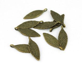 Antique Brass Leaf Charms - 10 Pieces