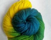 Summer Sky - Worsted Weight yarn - Peruvian Highland Wool yarn,  4 ply - 220 yds - 100g, hand dyed yarn, hand painted yarn, variegated yarn