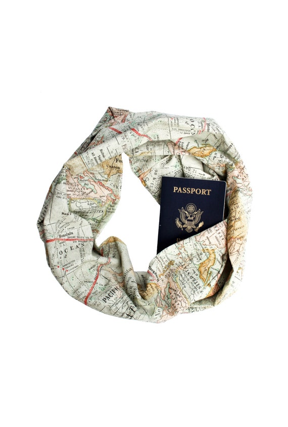 WORLD MAP Travel Infinity Scarf w/ {Secret Pocket}