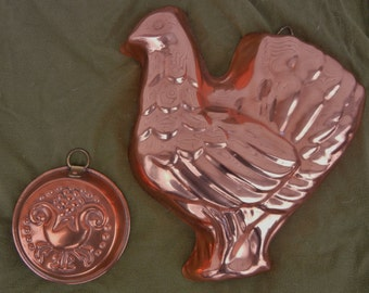 Two Vintage Copper Baking Molds
