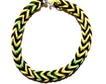 Rubber Bands Bracelet, Yellow, Green, Black Rainbow Loom Bracelet,  Rubber Bracelet
