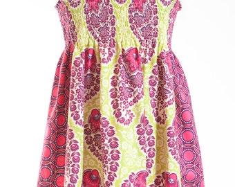 Shirred Sundress Summer Dress Girl's Dress Cotton Dress Paisley Print Dress