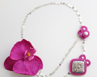 Pink and silver soutache necklace with pink orchid. Handmade